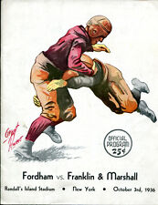 1936 Fordham v Franklin Marshall Football Program Lombardi Granite Ex