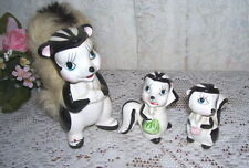 ANTIQUE SKUNK FIGURINES MOM AND TWO CHILDREN PORCELAIN SET/ 3