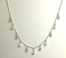 "PRETTY SILVER PLATED NECKLACE WITH PEARLS AND PURPLE CRYSTAL CHARMS  16"" 40CM"