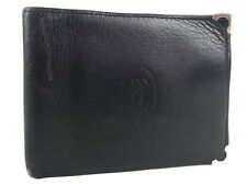 Auth Cartier Paris Logos Leather Bifold Compact Wallet Black UNISEX 14164i