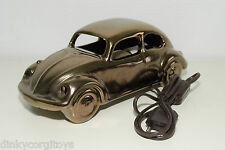 CERAMIC VINTAGE DESIGN DESK LAMP VW VOLKSWAGEN BEETLE KAFER BRONZE RARE SELTEN