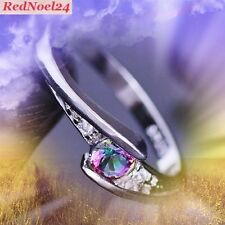 STRATIFYING ROUND MYSTIC TOPAX & WHITE TOPAZ SILVER PLATED RING SIZE 8 (P)