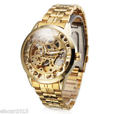 Gold Stainless Steel Men's Luxury Skeleton Automatic Mechanical Sport Army Watch
