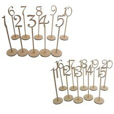 Wooden MDF Table Numbers 1-20 Stick Set With Base For Wedding Birthday Party