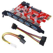 Inateck PCI-E to USB 3.0 5-Port PCI Express Card and 15-Pin Power Connector M...