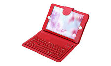 iPad Mini 2/3/4 Red Case Leather Built - In Magnetic Bluetooth Keyboard Folio