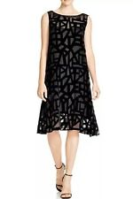 XL NEW EILEEN FISHER BLACK DECO VELVET BURNOUT BATEAU NK KNEE LENGTH DRESS $378