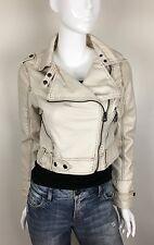 Jou Jou Faux Leather Motorcycle Jacket Fully Lined Ecru Size Large