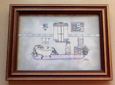 Framed Bathroom Print Signed & Dated TCR1996 Number 1183 Claw Foot Tub