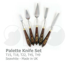 Palette Knife Set of x5 by Seawhite-made in UK-wooden handle no.15,18,22,45&49