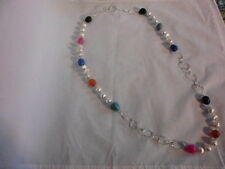 "Multi-Color Agate, Howlite & Silvertone Beaded Endless Necklace 36""-173.95 CTW"
