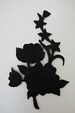 "#3820A 4-1/2"" Black Wild Flower Embroidery Iron On Appliqué Patch"