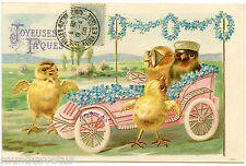 POUSSINS HUMANISéS. PAQUES. HUMANIZED CHICKS. EASTER. OLD CAR. EMBOSSED. GAUFRé