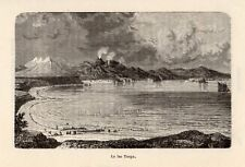 LAC TAUPO LAKE  NOUVELLE ZELANDE NEW ZEALAND IMAGE 1886 ENGRAVING