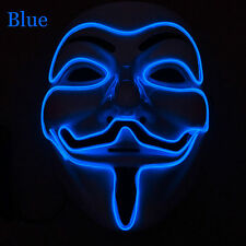 Light Up LED Guy Fawkes for Vendetta Mask EL Wire Mask Rave EDM Cosplay Party
