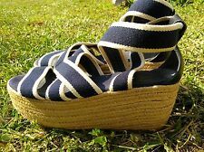 TORY BURCH Stretchy Elastic Espadrille Platform Wedge 9B Sandal Navy White