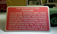 Land Rover Series 2 2a 2.25 litre Diesel Rocker Cover Patent Info Plate Repro