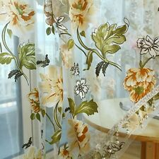 Yellow Flower Voile Sheer Window Curtain Drape Beads Valance Home Decor 2x1m