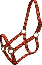 RED 2 Ply Nylon Western Horse Halter w/ Southwest Design!! NEW HORSE TACK!!