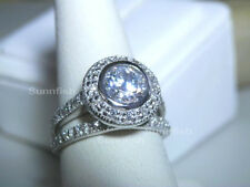 925 STERLING SILVER 2 RING SIMULATED DIAMOND HALO ENGAGEMENT WEDDING SET Size 8