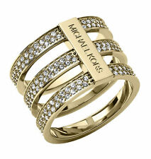 Michael Kors Clear Pavé Tri-Stack Ring Gold tone Size 7
