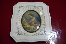 Antique old  Hand painted virgen   portrait on celluloid with ivory  frame