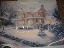 Vintage Hallmark Christmas Gift Bag Thomas Kincade Light House Snowman Tree MINT