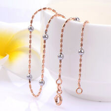 Fashion Silver Beads Classic Womens  Rose Gold Plated Chain Long Necklace