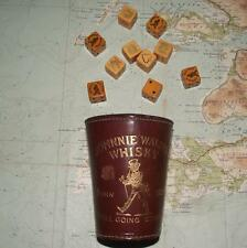 Old Johnnie Walker Whisky Advertising Heavy Leather Dice Cup & Dice
