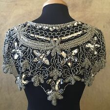 Sequin Beaded Lace Hip Wrap Collar Shoulder Shrug Shawl Applique Silver/Black