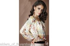 Ladies Gorgeous Multi Colour Chiffon Long Sleeve Summer Top Size 8-12 New