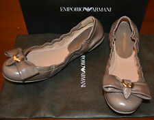 NIB EMPORIO ARMANI LEATHER FLATS BALLERINA SHOES  SZ US 9 EU 39 $445