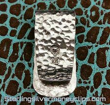 32g DOUBLE BALL-PEEN HAMMERED Argentium 935 925 Sterling Silver Money Clip USA