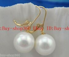 Real 14mm round white shell pearl dangle earring
