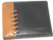New Men's Coach Saddle & Black Rip and Repair Leather Wallet 75212B NWT $150
