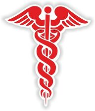 1x Red CADUCEUS STICKER MEDICAL pharmacy symbol decal snakes sword doctor #05
