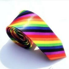 1 x mens skinny tie ladies girl boy necktie rainbow silk birthday party thin new