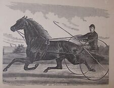 ORG LATE 1800'S BOOKPLATE PRINT-RACE HORSE W/DRIVER-GOV SPRAGUE-ANIMAL (F)