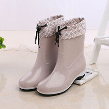 Women's Snow Rain Boots Removable Warm Lining Short Waterproof Shoes Rubber Sole