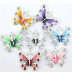 5-50 Silver Plated Enamel Butterfly Pendant Charms Jewelry Making Craft 22*20mm