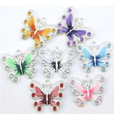 Wholesale Silver Plated Rhinestone Enamel Butterfly Charms Findings DIY 22*20mm