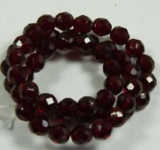 Garnet Red Czech 8mm Faceted Round Firepolish Glass Beads 16""