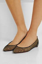 NIB Louboutin Pigaresille Mesh Leather Ballerina Ballet Flat Shoes $695 sz 39