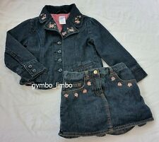 Gymboree La Belle Epoque Girls 4 Roses Blue Jean JACKET Denim SKORT Outfit SET