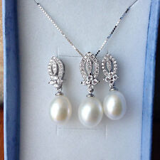 Genuine 9-10mm Freshwater Pearl necklace and earring set S925 Sterling silver