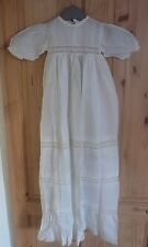 "LOVELY VINTAGE FULL LENGTH CHRISTENING DRESS / GOWN with CROCHET TRIM - 36"" Long"