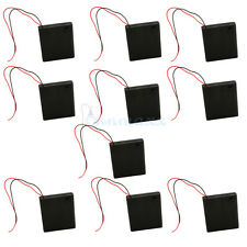 """10pcs Black New 4 AA/2A Cells Battery 6V Clip Holder Box Case Switch+6""""Leads DIY"""