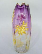 Jugendstil Glas Vase mit Blumen in Emailmalerei, Böhmen um 1900, H=24,5 cm