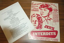 BRIGITTE FOSSEY GEORGES POUJOULY JEUX INTERDITS 1952 RARE SYNOPSIS RENE CLEMENT
