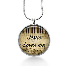 Jesus loves me necklace- Piano necklace- Christian,spiritual,sunday school,music